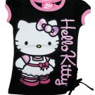 Hello Kitty Girls size 5 Black and Pink T-shirt with Shirred Side Seam Short Sleeve Tee Shirt