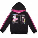 Hello Kitty Girls size 4-5 Black Lightweight Sport Hoodie Zip Sweatshirt Track Jacket