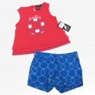 Nautica Baby Girls 12 Months Tank Top and Anchor Shorts 2-Piece Set Coral and Blue