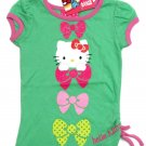 Hello Kitty Toddler Girls 2T Bows Shirred Tee Shirt Green Sleeve Tee Shirt Sanrio New