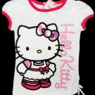 Hello Kitty Girls size 5 White and Pink Glitter T-shirt with Shirred Side Short Sleeve Tee Shirt