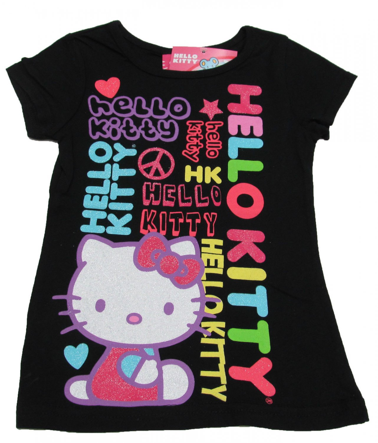 Hello kitty girls size 5 logo tee shirt black short sleeve for Hello kitty t shirt design