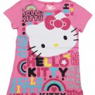 Hello Kitty Girls size 5 Logo Tee Shirt Pink Short Sleeve Tee Shirt