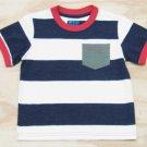 Z Boyz Wear by Nannette Boys size 6 Navy Blue and White Stripe Pocket T-shirt Short Sleeve Tee Shirt
