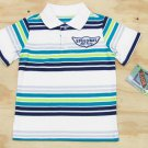 Z Boyz Wear by Nannette Boys size 7 Speedway Stripe Polo Shirt White Blue Green Short Sleeve