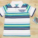 Z Boyz Wear by Nannette Boys 3T Speedway Stripe Polo Shirt White Blue Green Short Sleeve