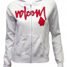 Volcom Juniors XS So Scripted Zip Hoodie White Sweatshirt with Red Logo New Extra Small
