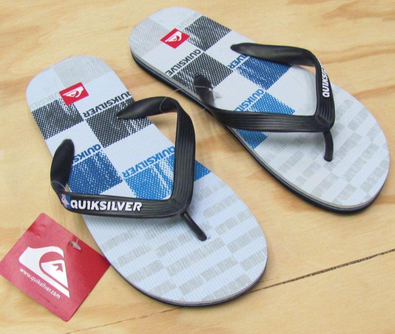 Quiksilver Flip Flops Mens size 12 Molokai Art Series Sandals Black Gray Men's