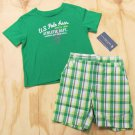 US Polo Assn Boys 3T Green T-shirt and Plaid Shorts Toddler 2-Piece Set