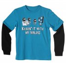 Urban Pipeline Boys XL Funny Ninja T-shirt Blue Long Sleeve Tee Shirt Youth Extra Large