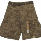Urban Pipeline Boys Size 14 Brown Palm Tree Print Cargo Shorts with Belt Youth