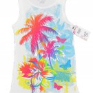 Total Girl size 5 Palm Tee Tank Top Shirt White Ribbed Sleeveless Summer Shirt