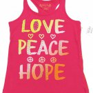 Total Girl Size 5 Love Peace Hope Racerback Tank Top Shirt Pink Kids Medium
