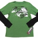 Tony Hawk Boys L 14-16 Green Long Sleeve T-shirt with Black and White Logo Youth Tee