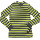Tony Hawk Mens XXL Slim Fit Gray and Yellow Stripe Thermal Shirt Long Sleeve