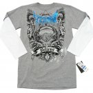 Tapout Youth XL Boys Size 18-20 Gray Long Sleeve T-shirt with White Sleeve New Mock Layer