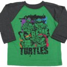 Teenage Mutant Ninja Turtles Boys 3T Long Sleeve Raglan Tee Shirt Green TMNT