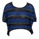 Tabom Womens L Blue Metallic Stripe High-Low Dolman Blouse Shirt Large New