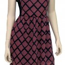Teenplo Juniors S Pink and Navy Geometric Print Tea Dress with Lace Side Panels V-neck Chiffon