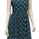 Teenplo Juniors L Green and Navy Geometric Print Tea Dress with Lace Side Panels V-neck Chiffon