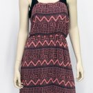 Teenplo Juniors M Pink and Black Geo Aztec Print Tank Dress Sleeveless New