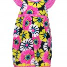 2B Rreal Girls Size 6X Bright Pink Polka Dot and Floral Dress New Summer