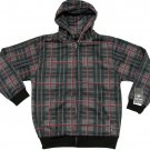 Silver Point Boys M Gray and Red Plaid Hoodie Youth Long Sleeve Zip Sweatshirt New