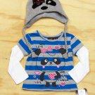 Self Esteem Girls Size 4 Blue Stripe Panda Mock Layer Tee Gray Knit Beanie Hat