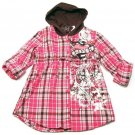 Self Esteem Girls M Pink Plaid Flannel Hooded Button-down Shirt Youth Medium