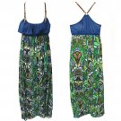 Self Esteem Juniors M Blue and Green Long Racerback Maxi Dress with Buckled Straps Steampunk New