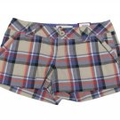 SO Juniors size 1 Beige and Purple Plaid Shorts Old Map Cotton New