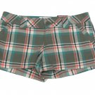 SO Juniors size 5 Green Plaid Cotton Shorts New