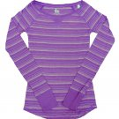 SO Juniors S Purple Stripe Raglan Tee Shirt Long Sleeve Small New