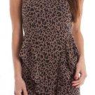S Line Juniors M Leopard Print Knit Peplum Dress with Criss-Cross Back Sleeveless