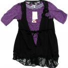 Speechless Girls M Black and Purple Stripe Mock Wrap Vest Layer Shirt New Youth