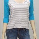 Roxy Juniors L Blue Sea Love Striped Knit High-Low Raglan Shirt Scoopneck New