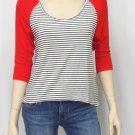 Roxy Juniors XS Red Sea Love Striped Knit High-Low Raglan Shirt Scoopneck New