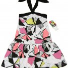 ROXY Girls S Two Faced Halter Dress Black White Pink Geometric Print Kids New