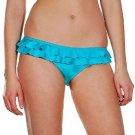 Roxy L Teal Blue Flash Forward Ruffle Pant Bikini Swim Bottom Large