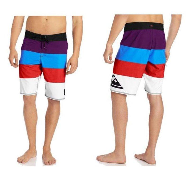 Quiksilver Mens Size 34 Clink Boardshorts Black Purple Blue Stripe Board Shorts