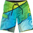 Quiksilver Mens size 30 Blue and Green Gamma Boardshorts Stripe Board Shorts Swim New
