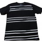 Quiksilver Mens M Phaser Tee Shirt Black and White Stripe T-shirt Short Sleeve