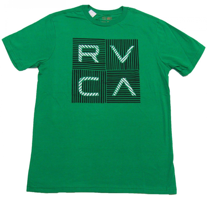 Rvca mens xl green tee shirt with striped logo nwt for Rvca mens t shirts