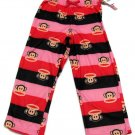 Paul Frank Girls Size 4-5 Stripe Pajama Pants Red Black Pink Thin Fleece New
