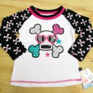 Paul Frank Girls 3T Skurvy Printed Raglan Tee Shirt White and Black Skull T-shirt