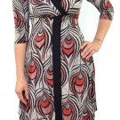 Purple Rain Juniors L Red Peacock Feather Print Asymmetrical Surplice Dress V-neck New