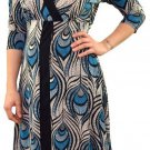 Purple Rain Juniors M Blue Peacock Feather Print Asymmetrical Surplice Dress V-neck New
