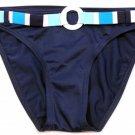 Hula Honey size M Blue Belted Bikini Bottom Swim Bottoms with Striped Belt