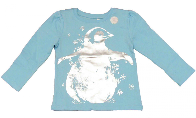 b8ca9d1c9 Old Navy Girls 4T Penguin Tee Shirt Light Blue Long Sleeve T-shirt Baby  Toddler New