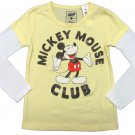 Disney Girls Size 5 Mickey Mouse Club Long Sleeve Tee Shirt Yellow